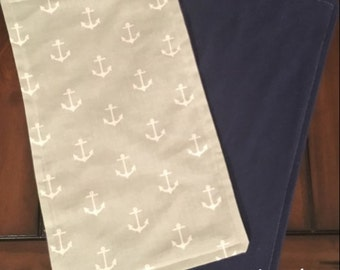 Baby Burp Cloth Gray/White Anchors With Navy Back