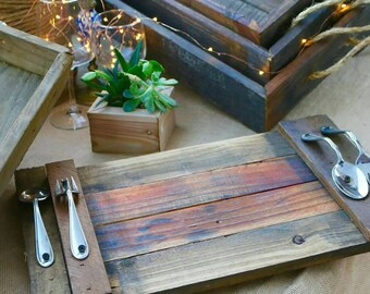 Reclaimed Wood Serving Tray, Cheese Tray, Rustic, Reclaimed Wood, Silverware, Serving Tray, Food Tray, Holiday, Wedding, Gift, Party