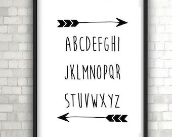 Alphabet, Nursery Print, Baby Gift, Home Decor, Black and White Art