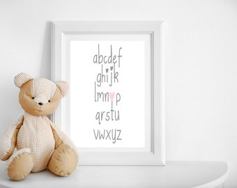 Nursery Art- Childrens Alphabet Print- Pink Heart detail- Baby Girl Nursery Decor