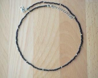 Black choker necklace -Dainty choker -Choker necklace -Seed bead choker -Simple choker - Glass bead choker - Gift under 15 - FREE SHIP