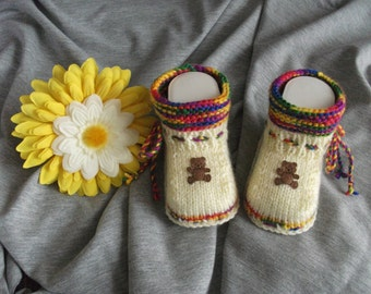 knitted baby shoes, baby shoes, baby socks, Babybooties * grumpy *.
