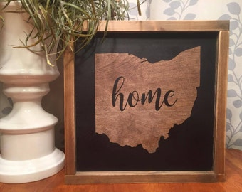 "13.5""x13.5"" Ohio ""home""/wood sign/word art/distressed sign/wall décor/rustic"