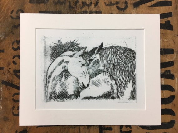 Pony Mounted Print • Pony Etching Print • Pony Illustration • Pony Wall Art • Pony Art • Horse Print • Wildlife Decor • Gift For Pony Lovers