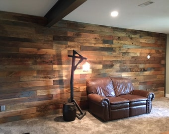Rough wood accent wall