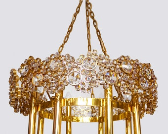 Wonderful Large PALWA CHANDELIER Gilded Brass & Crystal Lamp with 8 Lights 1960s