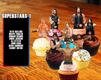 Cupcake Toppers, WWE Cupcake Toppers, Wrestling, WWE, Wrestling Cupcake Toppers, Printable, Digital, WWE Superstars, John Cena, Aj Styles