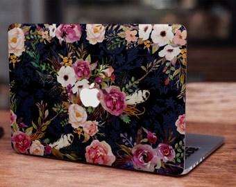 Vintage watercolor flowers MacBook skin decal laptop sticker vinyl decal