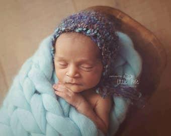 Knitted Blue Wool Bonnet, Knitted New Born Bonnet, Baby Boy Knitted Bonnet