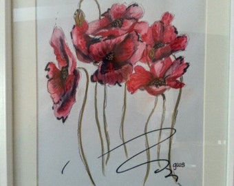 Watercolour Framed and Matted floral picture