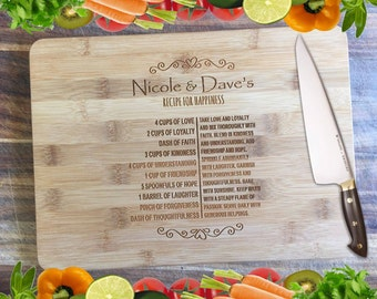 Recipe for Happiness - Personalised Engraved Bamboo Chopping Board
