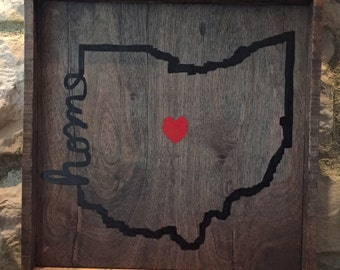 Ohio Home Rustic Wood Sign/Ohio State/Buckeyes/Rustic Decor/Wall sign/Reclaimed wood/Farmhouse/Rustic Wall decor/Personalized Sign