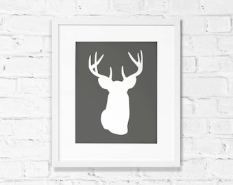 Deer art print in white and dark charcoal gray - Stag head, antler - Woodland wall decor - Instant DOWNLOAD artwork, grey printable art