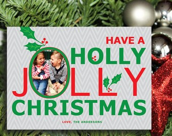 Personalized Creative Holiday Card, JOLLY CHRISTMAS! Digital Download, Custom, Print at Home