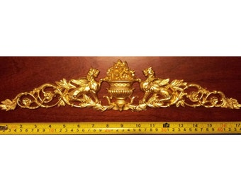 Large Gilt or White French Antique Empire Style Decorative Wall Furniture Moulding Pediment Plastic Decoration