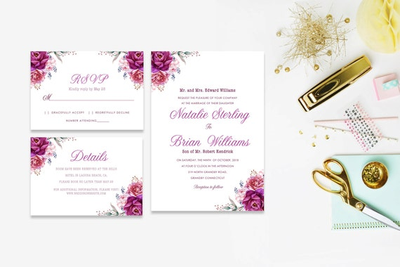 Floral wedding invite word_24,INSTANT DOWNLOAD, Editable Wedding template invitation. Microsoft Word template.Wedding Printable
