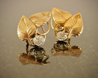 Vintage Diamond and Gold Ear Clips