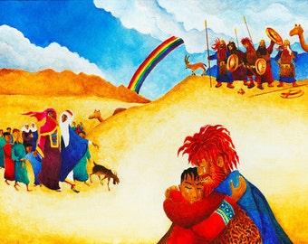 ORIGINAL BOOK ILLUSTRATION, acrylic painting, fine art,Judaica wall art, figurative art, original paintings, bible verse wall art, bible art