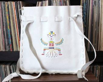 vintage white leather purse with seed bead Kachina . drawstring pouch bag . hippie bag . southwestern beadwork