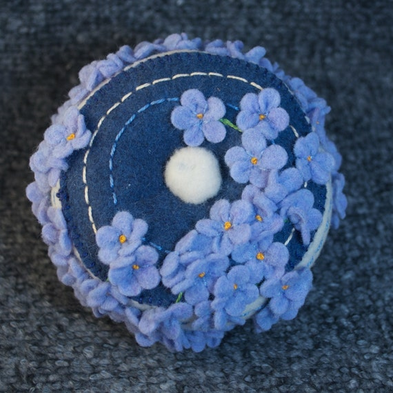 Free ship blue flowers pincushion made to order from for How are blue roses made