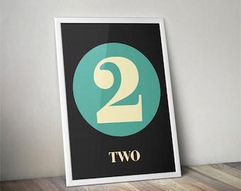 Number Art Print,Print, Room Decor, Custom number, Nursery Wall Art, Wall Art,