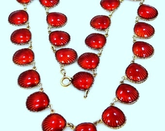 Nils Elvik & Co. Norway Sterling Silver Vermeil and Red Enamel Shell Pattern Necklace