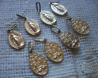 Lot 8 x Gold tone Madonna Charms/Medallions freepost
