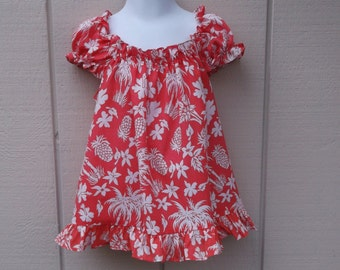"""Vintage 70s Little Girl's Pink Hawaiian Floral Dress // Girl's Size 3-5 - Chest 23"""" to 25"""""""