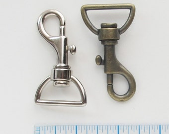 Large Swivel Clips - 2 Clips - 1 Antique Brass and 1 Nickel