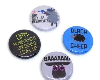 Knitting Pins, 1 inch pin back, Black Sheep, Set of 4