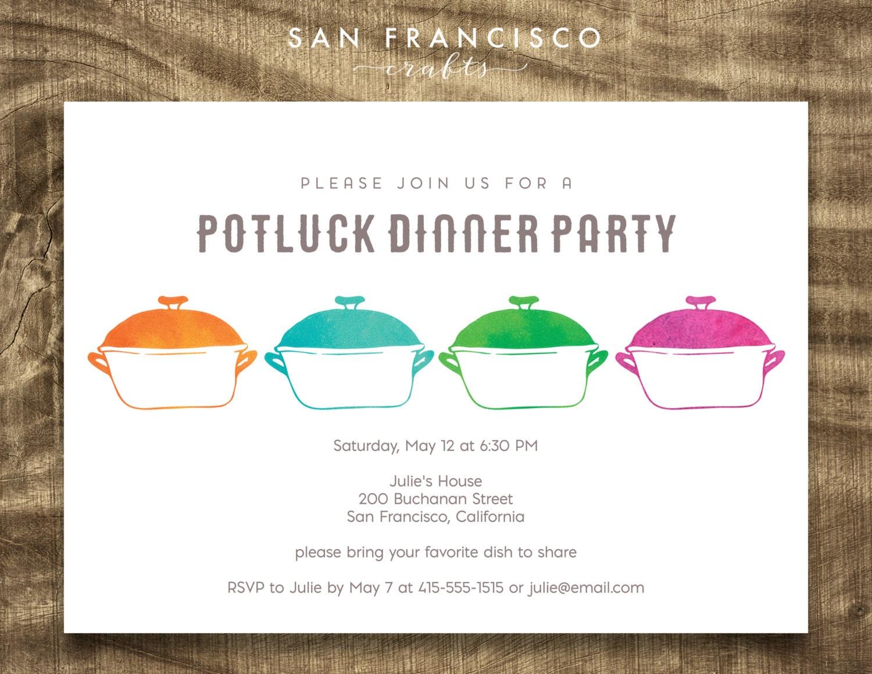 Potluck Invitation Watercolor Pots Potluck Dinner Party