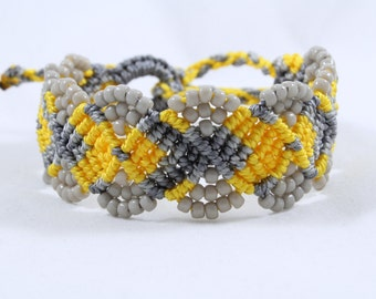Micro-Macrame Beaded Cuff Bracelet - Golden Yellow and Grey