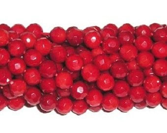 Red Coral Faceted Gemstone Beads