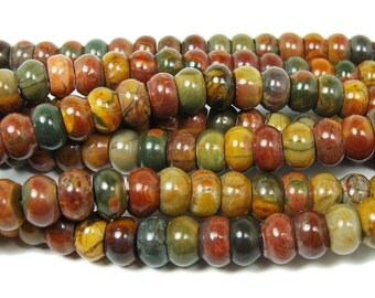 Red Turquoise Smooth Rondelle Gemstone Beads