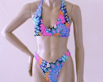 80s Brazilian Bikini Bottom with High Leg and Crossback Halter Top in Peacock Print