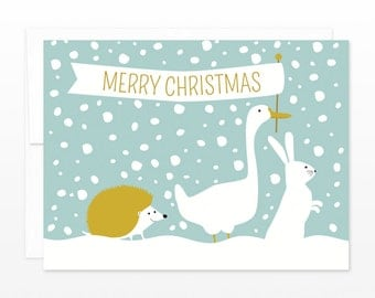 Animal Winter Parade Holiday Card, Christmas Card - Merry Christmas Woodland Animals Greeting Card, card for family, card for coworkers