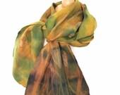 Felted scarf, multicolored , green, golden yellow, chartreuse, mustard, wearable silk scarf, art wearable, silk, wool, ionaloyola