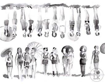 """Watercolor Bikini Girls- signed  8""""x 10"""" print"""