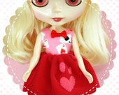The Red Queen Party Dress / One-of-a-Kind Doll Dress for Blythe