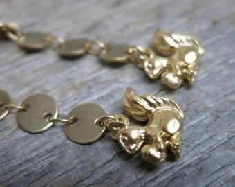 Harvest Squirrels earrings ... matte gold cascades / squirrels / acorns