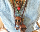 on sale RESERVED Dia De Los Muertos Skull Pendant Large Skull Gypsy Syle Boho African Trade tribal Wooden Skull Extra Large Skull