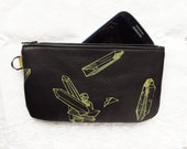 Leather Phone Pouch Pencil Case Small Clutch Crystals