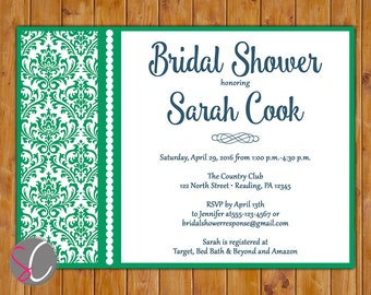 Emerald Green Bridal Shower Invitation Woman's  Birthday Party  Printable 5x7 JPG File (66)