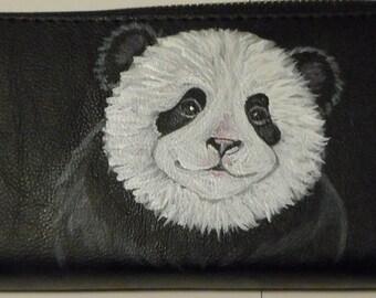 Panda Bear Hand Painted Ladies Leather Wallet
