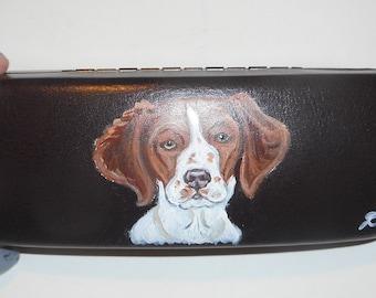 Brittany Saniel Dog  Hand Painted Eyeglass Case Vegan