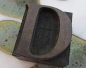 Antique Letterpress Wood Type Printers Block Letter D