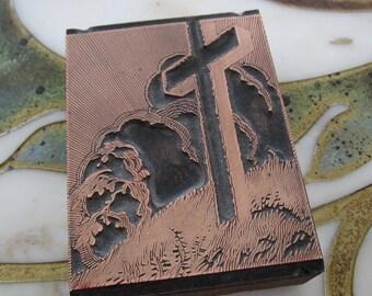 Vintage Letterpress Printers Block Cross