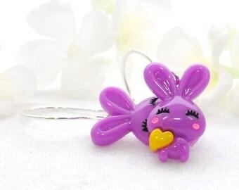 Purple Rabbit Earrings Bunny Jewelry  Violet and Lilac - Kawaii Earrings - Bunny Rabbit Jewelry - Bunny Earrings