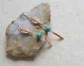 Rose Gold Arrow Earrings - Arrow Earrings - Sleeping Beauty Turquoise - Sagittarius Earrings - Arrow Jewelry - boho chic - gift under 25