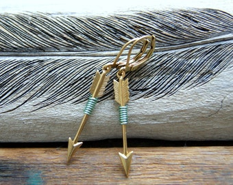 Archery Earrings - mint green wire wrapped brass arrow earrings - boho chic - arrow earrings - arrow jewelry - Sagittarius